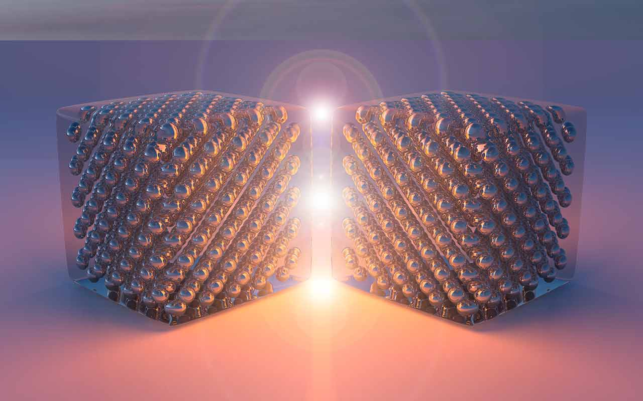 Illustration of nanosized device made of two joined silver single crystals that generate light by inelastical electron tunneling