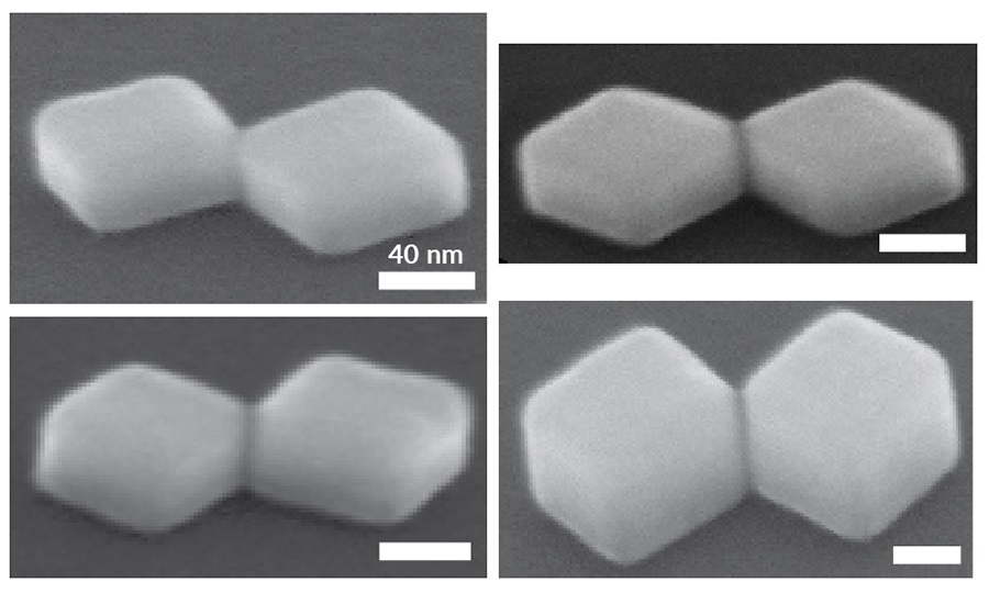 SEM images of silver nanocrystal-based tunnel junctions grown with different dimensions