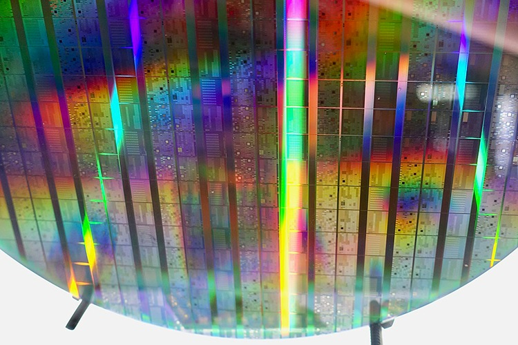 Close up of an Intel computing wafer