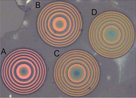 Four ultrathin metalenses developed by University of Washington researchers and visualized under a microscope.
