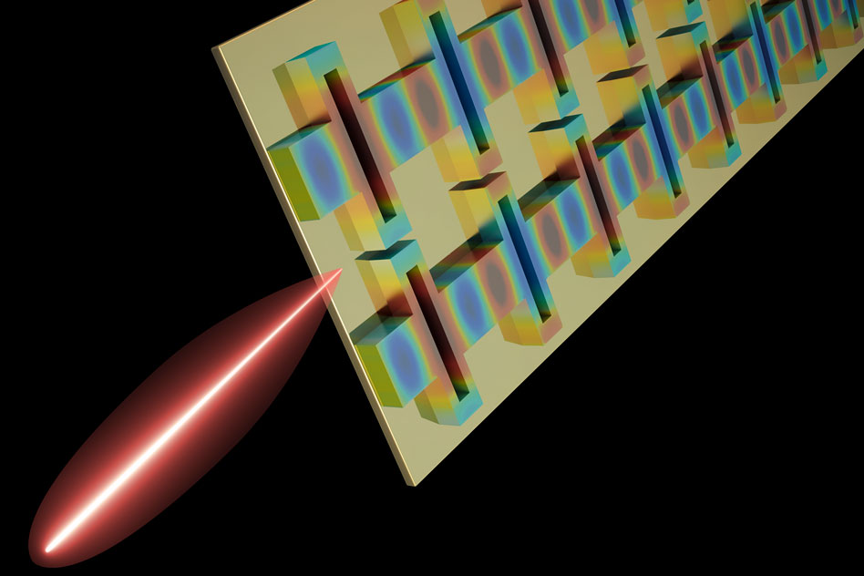 A tiny terahertz laser designed by MIT researchers is the first to reach three key performance goals at once: high power, tight beam, and broad frequency tuning