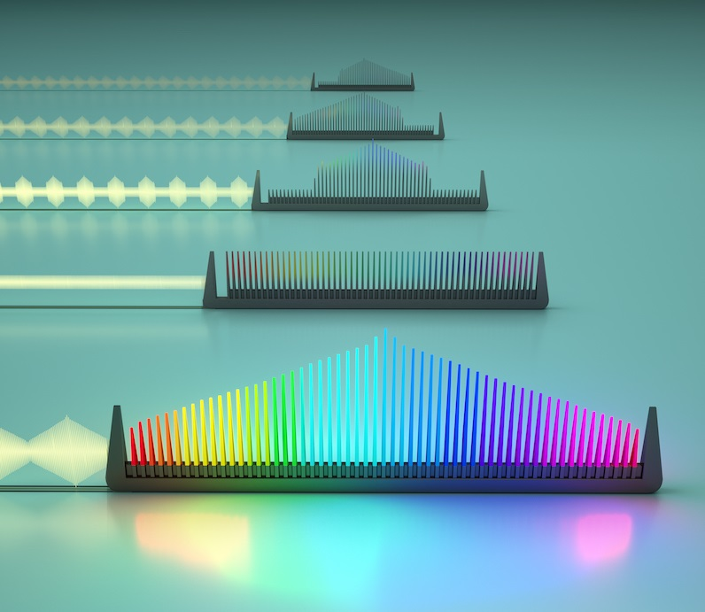 A new integrated electro-optic frequency comb can be tuned using microwave signals, allowing the properties of the comb — including the bandwidth, the spacing between the teeth, the height of lines and which frequencies are on and off — to be controlled independently