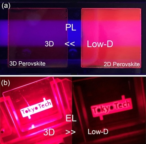 Photoluminescence and electroluminsecence in low-dimensional and 3D perovskite-based devices.