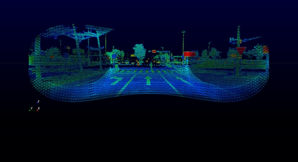 Horizon Point Cloud Sample of Crossroads with a pedestrian crossing the street