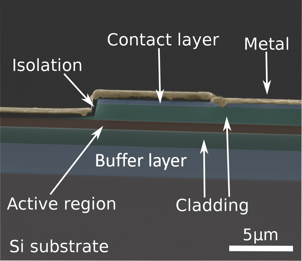 Researchers have fabricated the first set of mid-infrared laser diodes directly on microelectronics-compatible silicon substrates.
