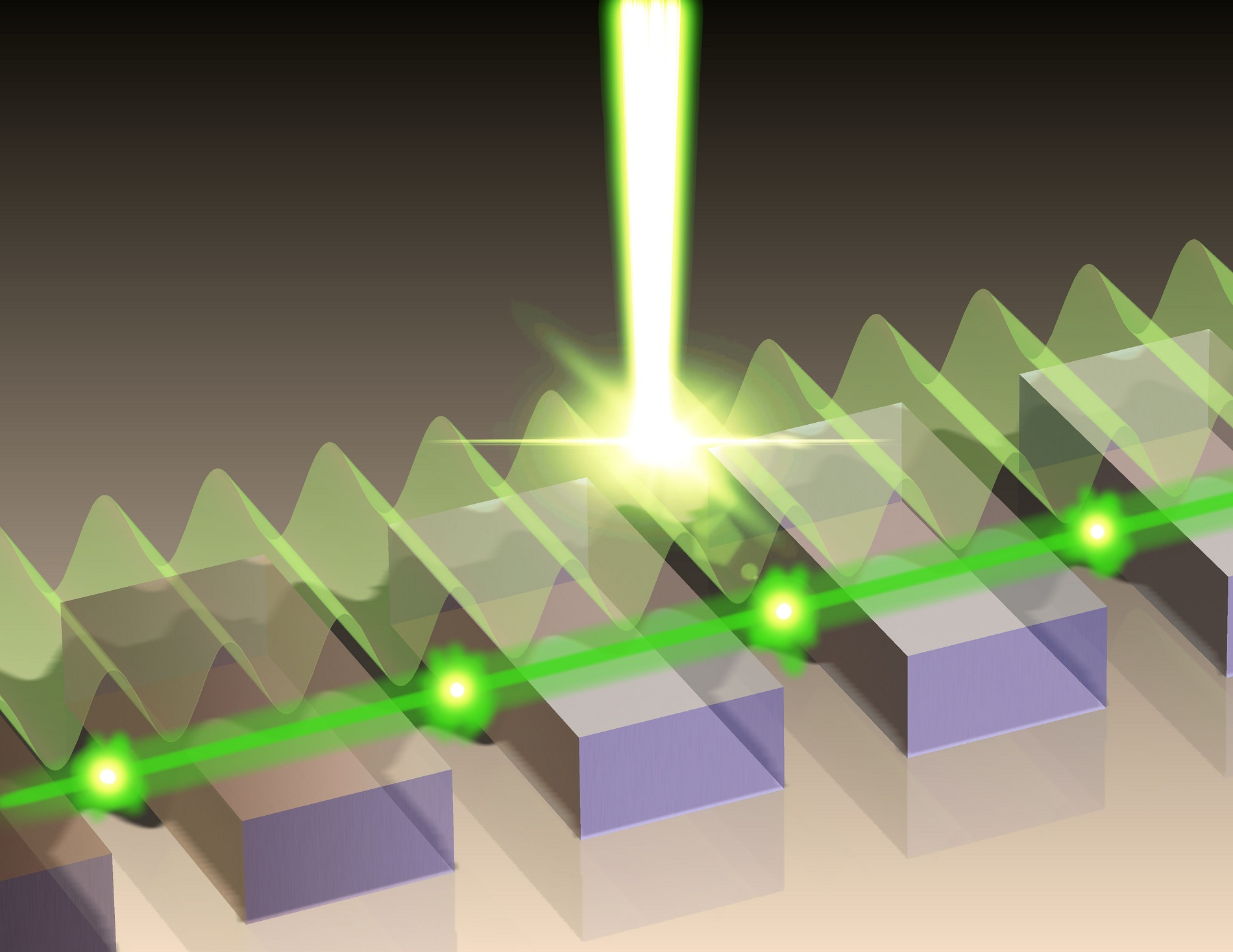 A phase-locking scheme for plasmonic lasers is developed in which traveling surface-waves longitudinally couple several metallic microcavities in a surface-emitting laser array
