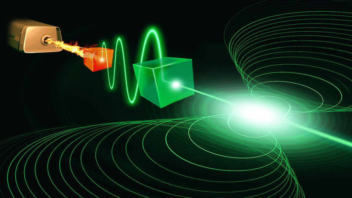 Artist's conception of a superconducting device which could realise a laser operating at the ultimate quantum limit.