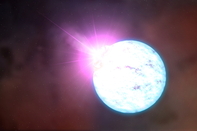 An artist's rendering of an outburst on an ultra-magnetic neutron star