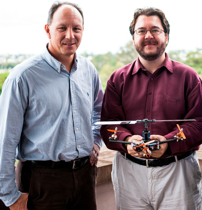 V-TOL Aerospace's Mark Xavier, left, and UQ's Dr Paul Pounds