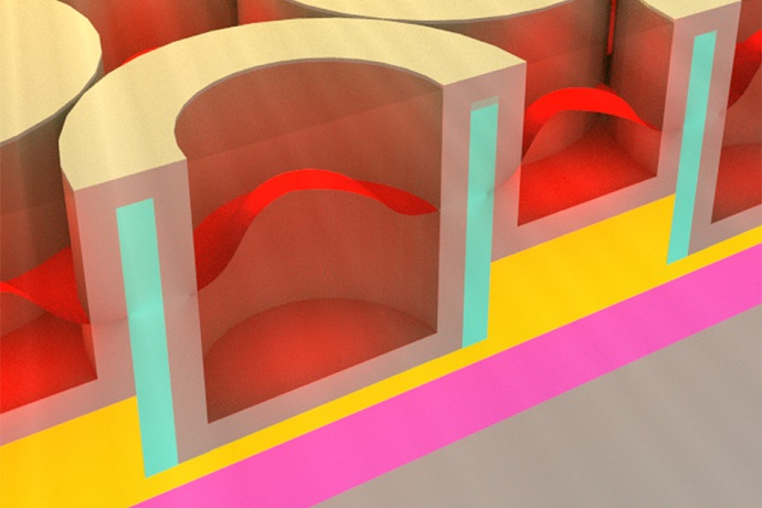 This rendering shows the metallic dielectric photonic crystal