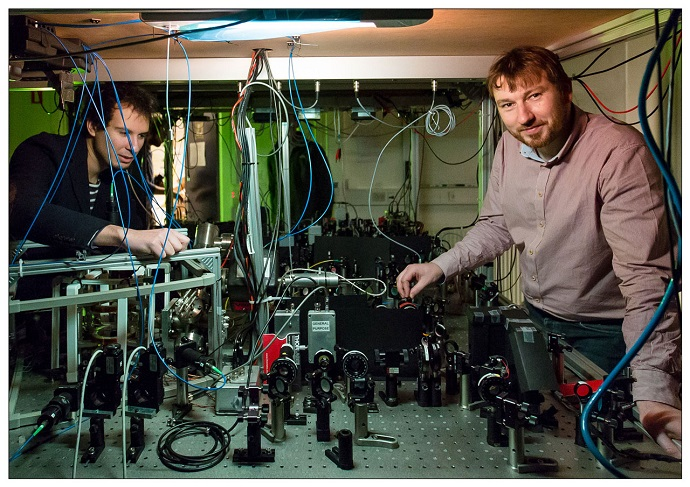 researchers in the quantum optics laboratory