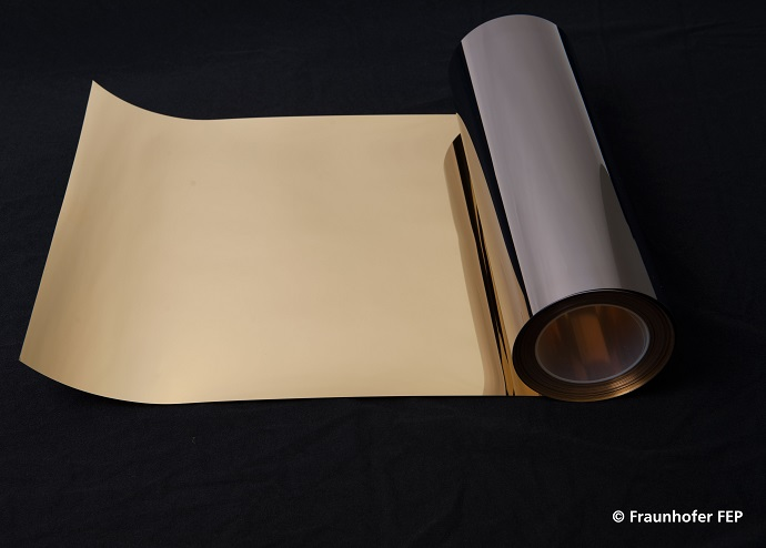 Polymer film which has been coated with metal in the roll-to-roll  process at Fraunhofer FEP