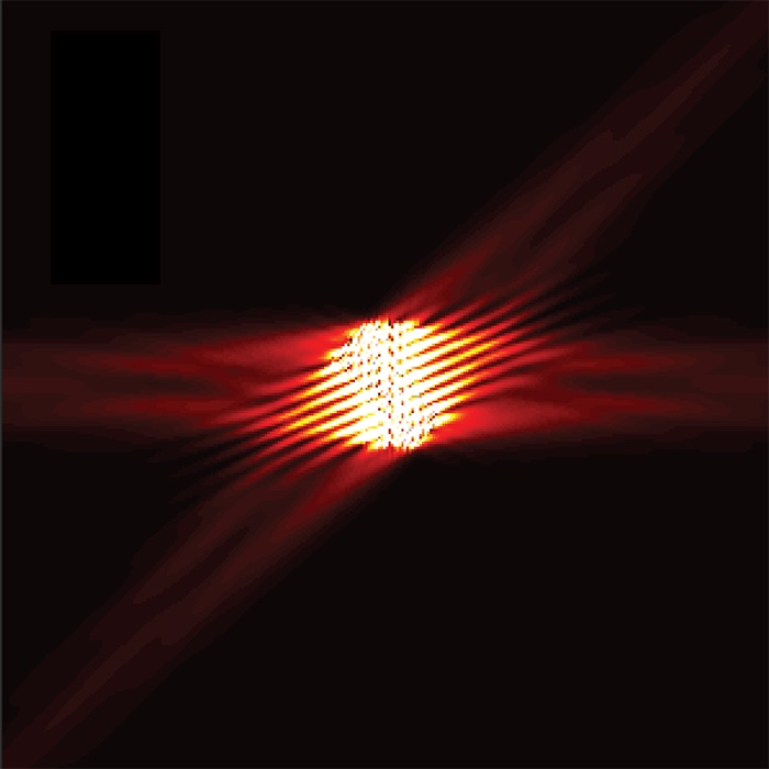 Light from an optical fiber illuminates the metasurface and is scattered in four different directions