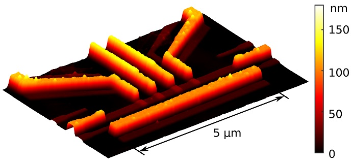 Atomic-force microscope image of one of the resistors in the device used to demonstrate quantum-limited heat conduction over macroscopic distances