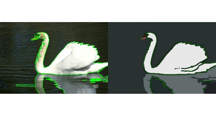 "This image shows a conventional algorithm's segmentation output on the left, and the output from the new ""consensus-based"" technique on the right."