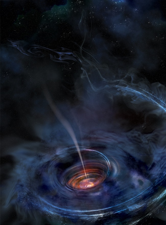 A thick accretion disk has formed from a star that wandered too close and has been ripped apart and pulled toward a previously dormant supermassive black hole