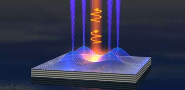 Polariton fluid emits clockwise or anticlockwise spin light by applying electric fields to a semiconductor chip