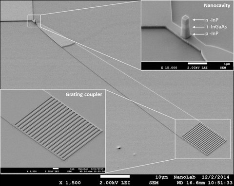 A SEM-picture of the new nano-LED, including some details.