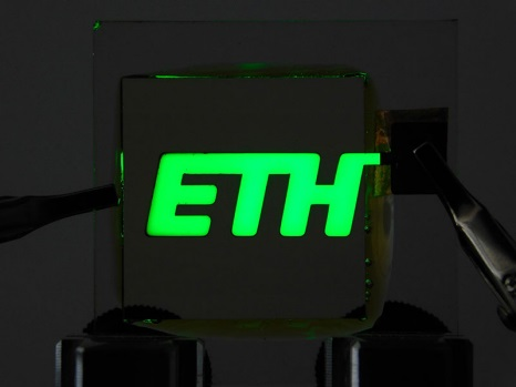 The ETH logo is shown in ultra-green with the new LED technology.