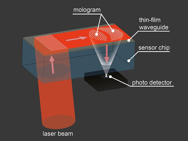 Laser light propagates in a thin-film waveguide and – if the molecules under examination bind to the mologram – it is deflected there and focused onto a focal point