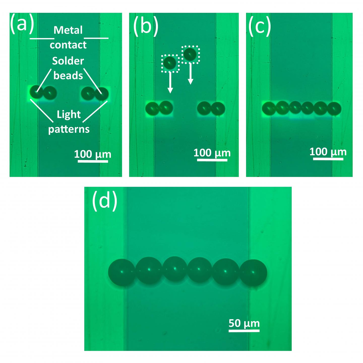 Researchers used optoelectronic tweezers to assemble a line of solder beads