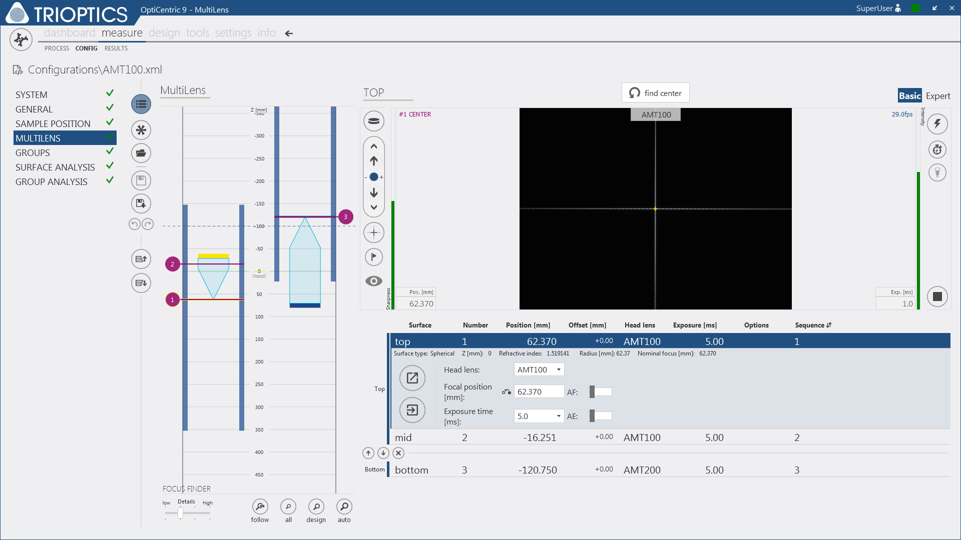 New OptiCentric® software: Configuration of the centering test for a doublet