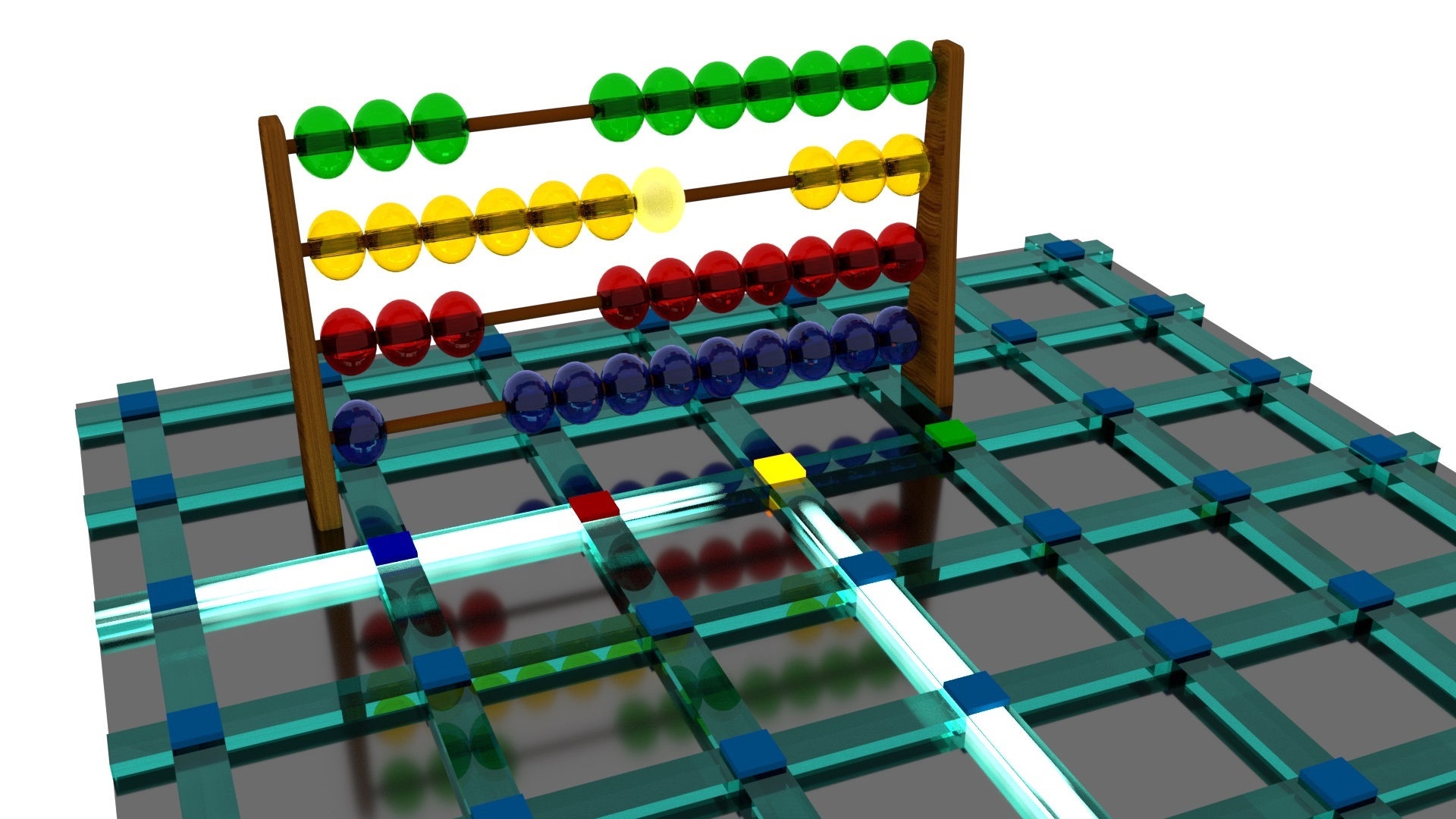 Illustration of a chip-scale optical abacus with integrated optical waveguides