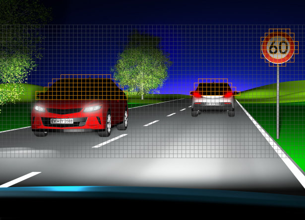 Eviyos illuminates surroundings in high-beam quality light, while ensuring other drivers and passengers are not blinded either by direct glare or reflected glare from road signs and other objects