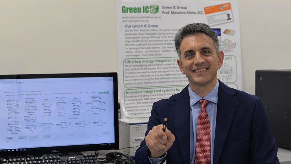 Associate Professor Massimo Alioto and his team from NUS Engineering developed a tiny vision processing chip, EQSCALE, which uses 20 times less power than existing technology.