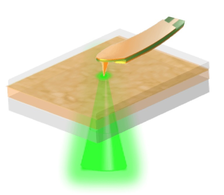 Illustration shows the microwave impedance microscopy technique illuminating the solar cell from below.