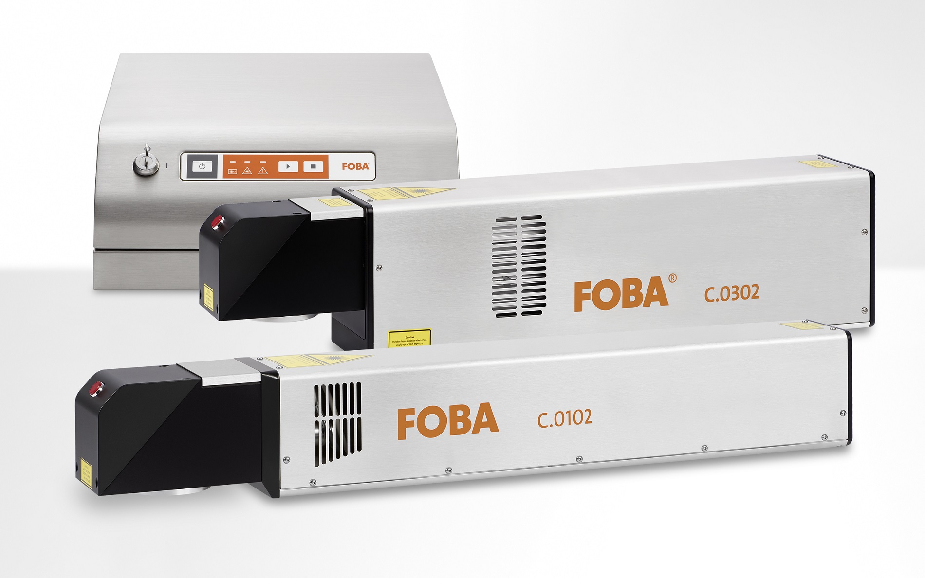 FOBA C.0102 and C.0302, 10- and 30-Watt-CO2-laser marking systems of the latest generation, offering a wide range of marking solutions for different materials and contents.