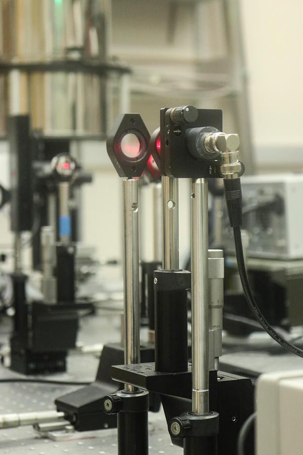 The laser and optics used to create excitons